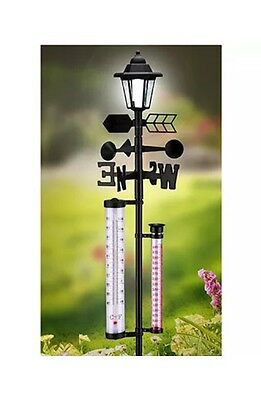 6-In-1 Weather Station With Dusk To Dawn Solar Light - Brand New