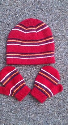 M&S Red Stripe Toddler Beanie Hat & Mitts 1 - 2 years