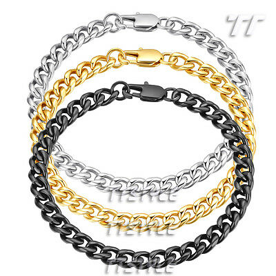 TTstyle 7mm Width Stainless Steel Curb Chain Bracelet Length 18cm-21.5cm NEW