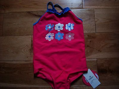 Girl's new M&S Indigo size 2-3 years deep pink swimming costume floral pattern