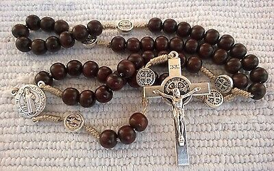 Wooden wood St. Benedict rosary Saint Benedict cross medals Mens Gift Rosary