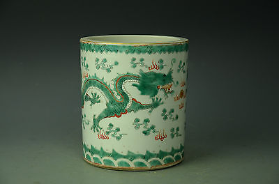 Gorgeous Chinese Famille Rose Porcelain Dragon Brush Pot