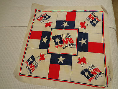 TEXAS Sesquicentennial 1836-1986 Cotton Poly Scarf Bandana USED