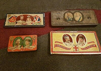 4 chocolate commemorative tins king george