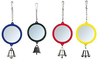 Trixie Hanging Bird Mirror with Plastic Frame & Bell Bird Cage Toy - 2 Sizes