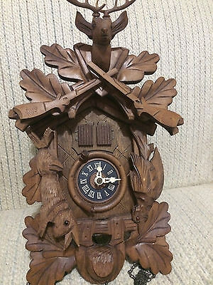 German Black Forest 1-day Hunting Theme Cuckoo Clock West Germany- Works!