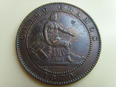 1870 Om Spain Cinco 5 Centimos Spanish Coin Cinco Gramos