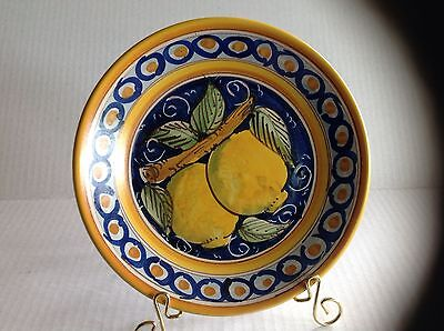 Italian Decorative Caltagirone Plate Hand Painted with lemons by E. Boria