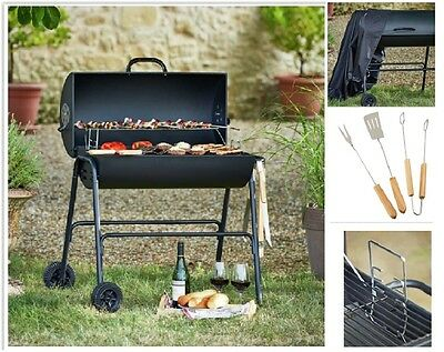 Charcoal Barbeque Smoker BBQ Grill Garden Outdoor Cooking Patio Cover Untensils