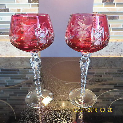 Kristall Germany Set Of 2 Cranberry 'fruit & Vine' Wine Glasses ~ Great Gift!!