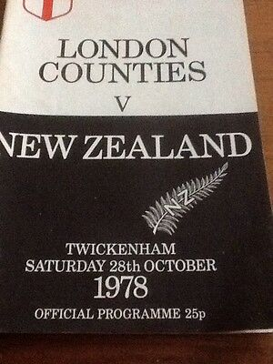 London Counties V New Zealand 1978 Rugby Programme