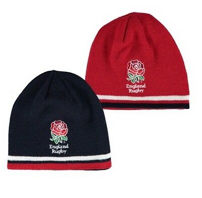 England Rugby Kids Reversible Beanie Hat - Navy/Red - Junior