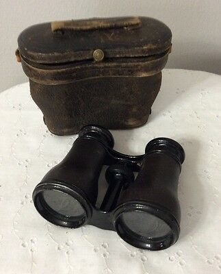 VINTAGE F. MAJER STRASSBURG Binoculars Leather Wrapped in Leather Case