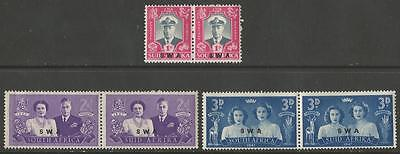 South West Africa 1947 South Africa Royal Visit Postage Stamps Overprinted MM