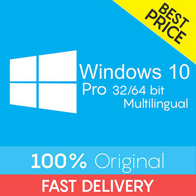 Windows 10 | Professional Pro Retail Key 32 64 BIT 100% Licenza Originale 24h