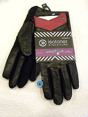 Women's Isotoner Signature Dress Gloves Smartouch Technology Black W/ Red Trim