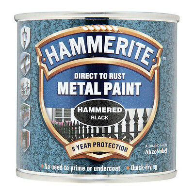 Hammerite Direct to Rust Hammered Finish Metal Black Paint 250ml