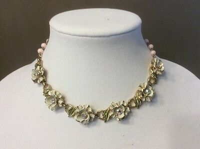vintage Coro necklace white enamel flowers with pink beads and rhinestones