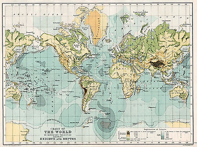 Chart of the World Heights and Depths  1898 Original Antique Map