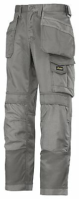 Snickers Mens Canvas+ Trousers with Holster - Grey - Size 48 - W33 L32 Box6523 R