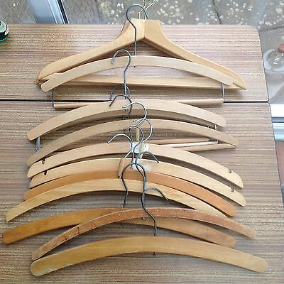 Collection Of 13 Vintage Wooden Coat Hangers