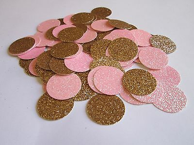Pink and Gold Glitter Confetti Dots. 100 pieces- 1 inch. Great Party Decor!