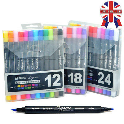 12 18 24 Color Set Art Graphic Round Body Twin Tip Brush Watercolor Marker Pen
