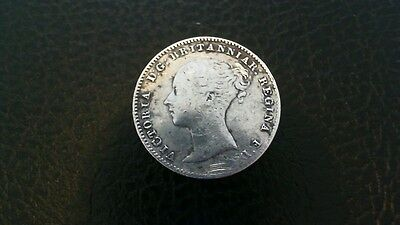 1859 Silver Threepence Queen Victoria Young Head