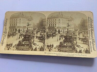 Stereoscope Slide Picture C1896 Piccadilly Circus London England
