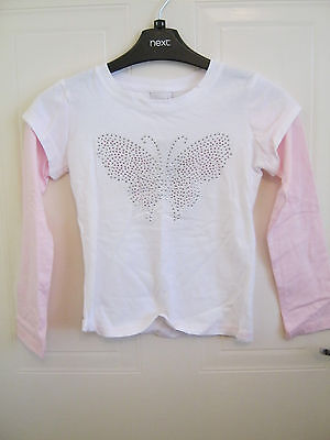 Girl's White Pink Next Brand New Top Age 7 Years