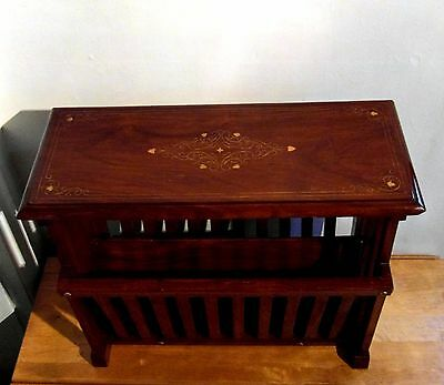 Wood With Brass Inlay Magazine Rack End/Side Table