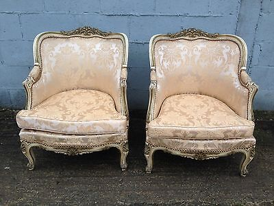 RARE, Wingback, Antique, Rococo, Vintage, French, Saloon, White/Gold X2 Chairs