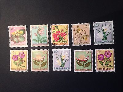 Selection of 10 Used Old Stamps Congo / Belgium Congo - Orchid Flowers
