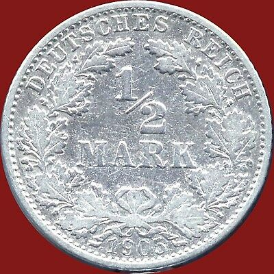 1905 'J' Germany 1/2 Mark Silver Coin (2.777 Grams .803 Silver)