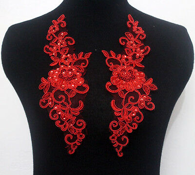 Mirror Pair Embroidered Corded Sequins Tulle Red Lace Applique Trim Motif Sew On