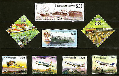 SRI LANKA - Thematic Stamp Collection - Vehicles, Transport, Trains, Ships, MNH