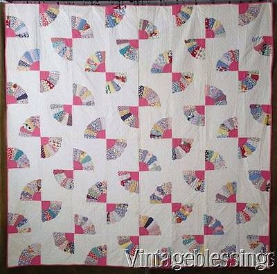 "Lovely! Vintage 30s Pink + Feedsack Fan QUILT 79x78""Layaway Available"