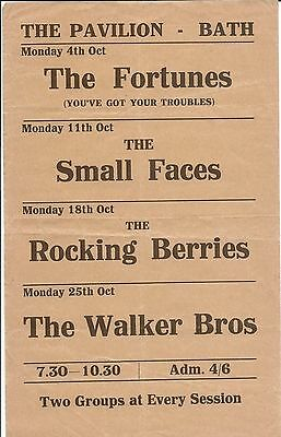 THE SMALL FACES, WALKER BROTHERS, ROCKING BERRIES, FORTUNES RARE 60s BATH FLYER
