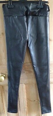 New Womens skinny black high waisted leather look trousers leggings size 8