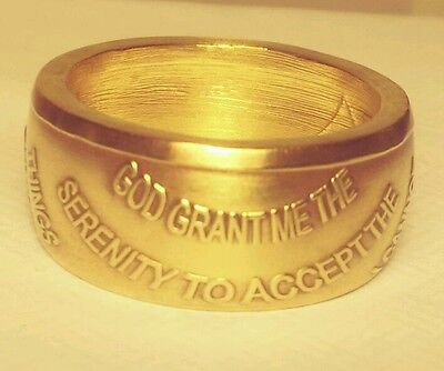 Sobriety coin ring with chain , Serenity Prayer , handmade AA token ring