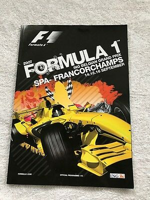BELGIAN F1 GRAND PRIX PROGRAMME 2007 -- Mint Condition. Spa Francorchamps