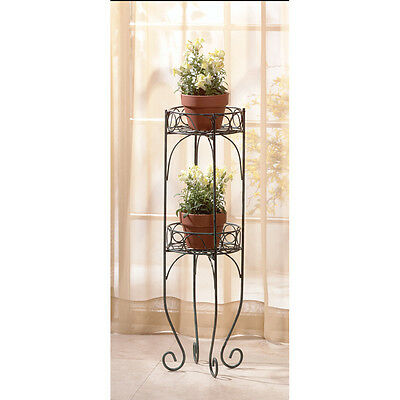 "Two Tier Plant Stand - 28"" High - Black - Metal - Indoor/outdoor Decor"