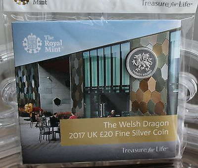 2017 Welsh Dragon UK £20 Fine Silver Coin - Royal Mint Experience Exclusive