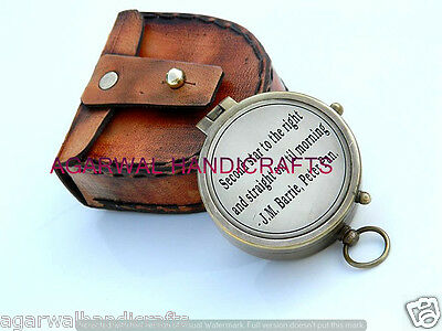 Right J. M. Barrie, Peter Pan Engraved Brass Compass with Leather Case