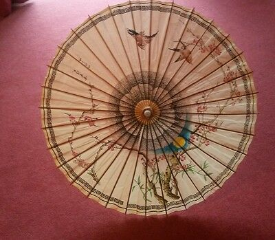 Vintage Oriental Japanese Chinese Asian Paper Umbrella Sun Parasol