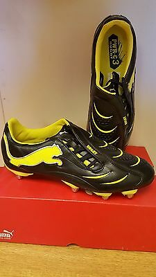 Mens Puma Power-C 3.10 Rugby Black/Fluo Yellow/Silver Rugby Boots Size UK 7