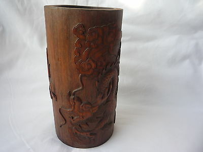 Antique/ Old Chinese Wooden Bamboo Hand Carved Dragon Holder Pot