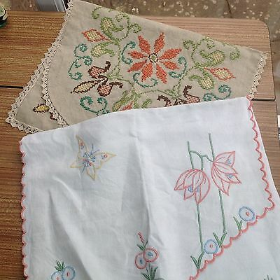 2 Pieces Of Vintage Embroidered Linen