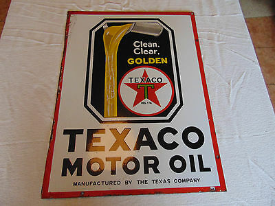 1930 Texaco Golden Motor Oil Double Sided Porcelain Flange Sign made in USA