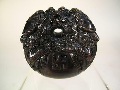 Antique Japanese Netsuke. Meiji Period. Wooden. Double Dragon. Signed. (928)